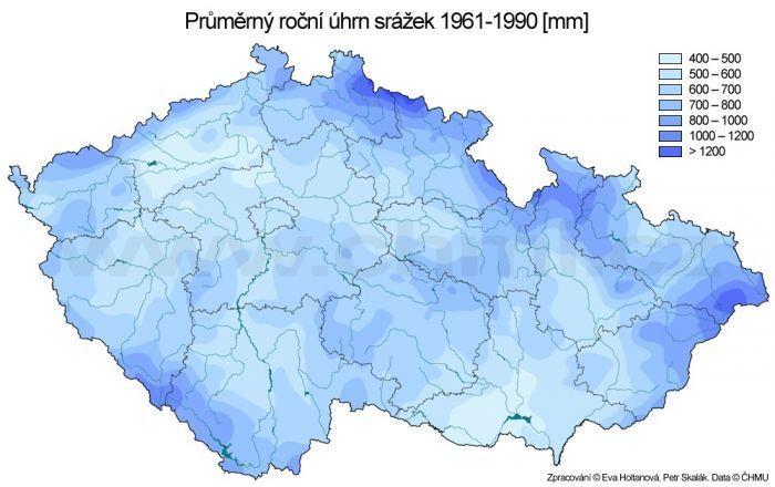 Průměrný roční úhrn srážek mapa